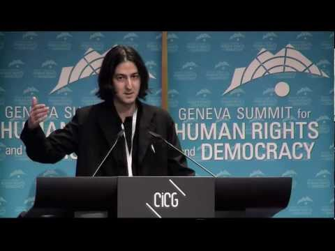 Moroccan human rights activist Kacem El Ghazzali at 2013 Geneva Summit for Human Rights