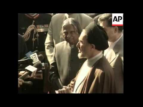 Iranian president Khatami arrives condemns war in Iraq