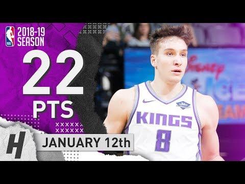 Bogdan Bogdanovic Full Highlights Kings vs Hornets 2019.01.12 - 22 Points off the Bench