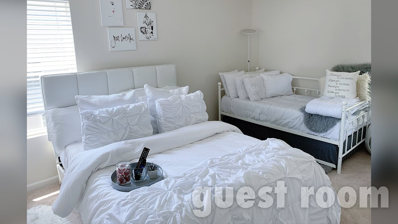 Cozy Bright Airy Guest Bedroom Tour 2 Beds One Room Dw S Ambiance By Daquana White Youtube