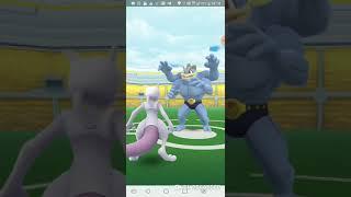 Pokemon Go - Machamp Raid Solo by lv30 Psystrike Mewtwo(no weather boost)(KO@76 sec)(22/9/19 game 1)
