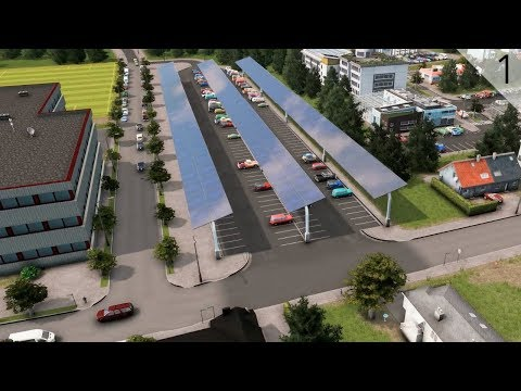 Cities: Skylines - Solar Panel Covered Parking Lot/Building First Suburbs (City Build Episode 1)