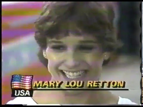 Olympics - 1984 Los Angeles - Gymnastics - Womens Vault Finals - USA Mary Lou Retton - Perfect 10