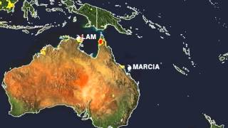 Animation of Flood Potential from Two Australian Tropical Cyclones
