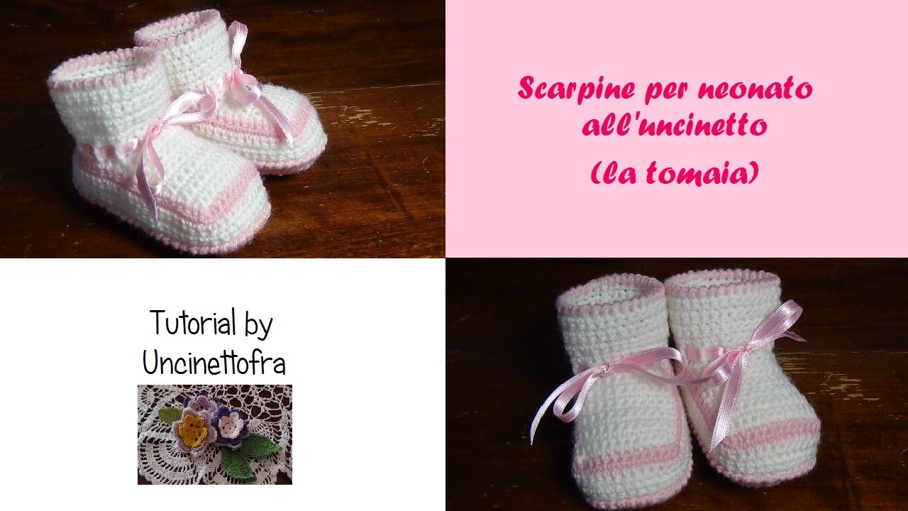 scarpine per neonato all uncinetto tutorial (la tomaia) - YouTube b28a7fd745b4