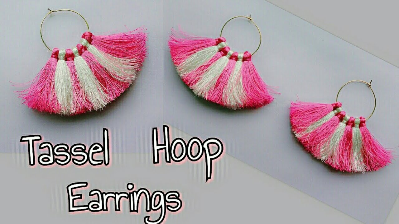 Diy Tassel Hoop Earrings Two Color Tassel Hoop Earrings How To Make