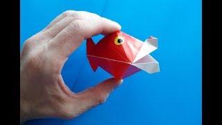 Открывает рыба рот оригами, Opens fish mouth of origami