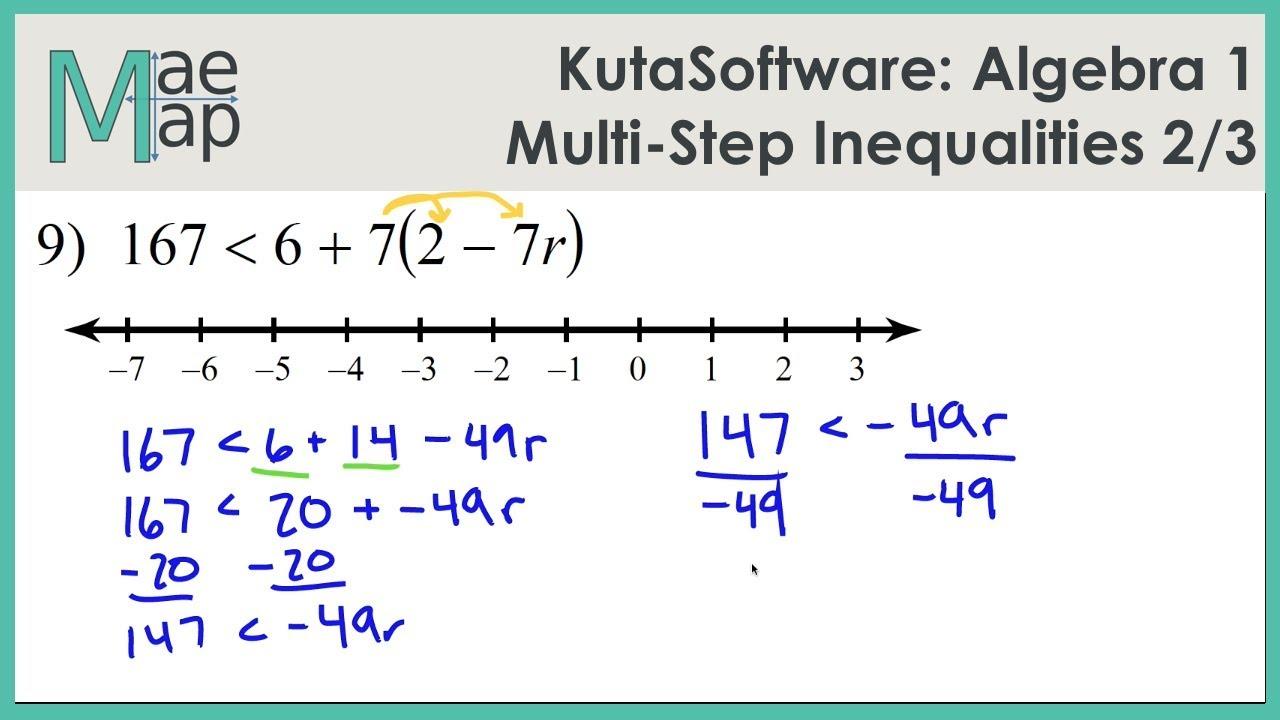 KutaSoftware: Algebra 24- Multi-Step Inequalities Part 24 - YouTube Intended For Algebra 1 Inequalities Worksheet