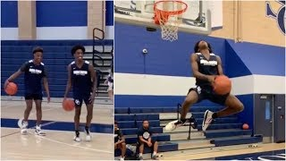 Zaire Wade working on his dunk package with Bronny James