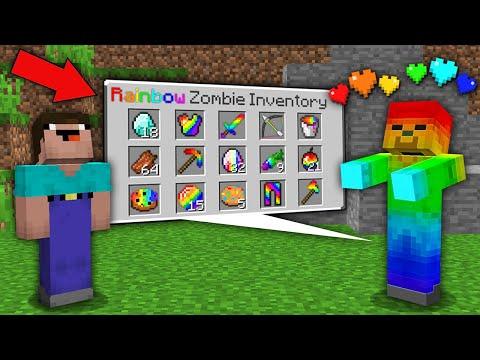 Minecraft NOOB Vs PRO: NOOB WAS SHOCKED WHEN OPEN SECRET INVENTORY THIS RAINBOW ZOMBIE! Trolling