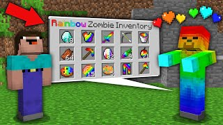 Minecraft NOOB vs PRO: NOOB WAS SHOCKED WHEN OPEN SECRET INVENTORY THIS RAINBOW ZOMBIE! trolling