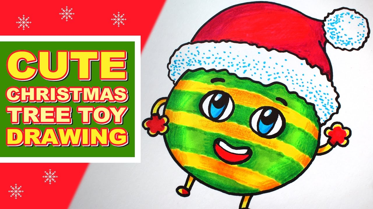 Christmas Things To Draw.How To Draw Christmas Things Cute Cartoon Christmas Tree Toy In Santa Hat Speed Drawing