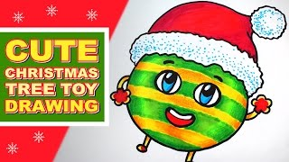 How to Draw Christmas Things - Cute Cartoon Christmas Tree Toy in Santa Hat Speed Drawing