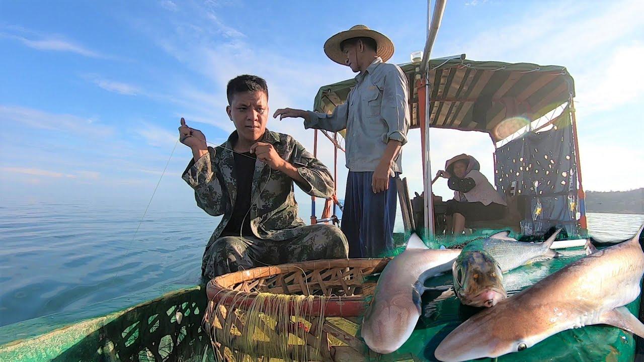 凌晨4点出海放排钩,鲨鱼石斑一条接一条,父子俩轮番上阵拉过瘾
