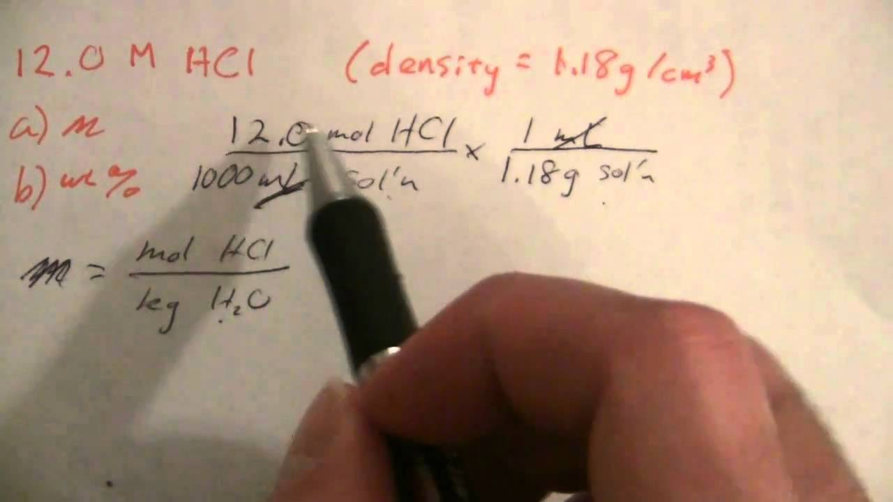 Percent & molality from Molarity (1 of 2) - YouTube