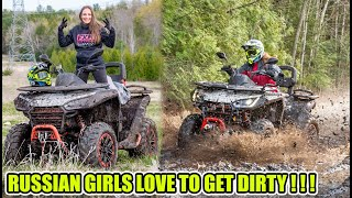 Redneck Russian Girl goes mudding for the first time! Segway Snarler ATV in Action!