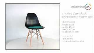 Eames Dining Sidechair Wooden Base (dsw) Black