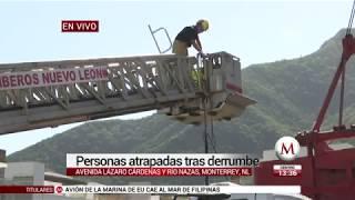Derrumbe de casas en Monterrey deja varios atrapados bajo los escombros