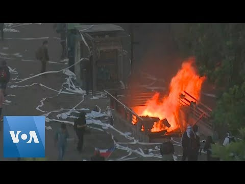 Metro Station Burns In Santiago As Protests Continue In Chile