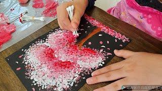 미술놀이, 아이들과 면봉으로 나무그리기,綿棒で描く,Tr…