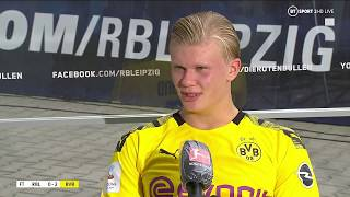 After scoring twice in a 2-0 win over rb leipzig, erling haaland gave praise to giovanni reyna and acknowledged that dortmund must work catch bayern munic...