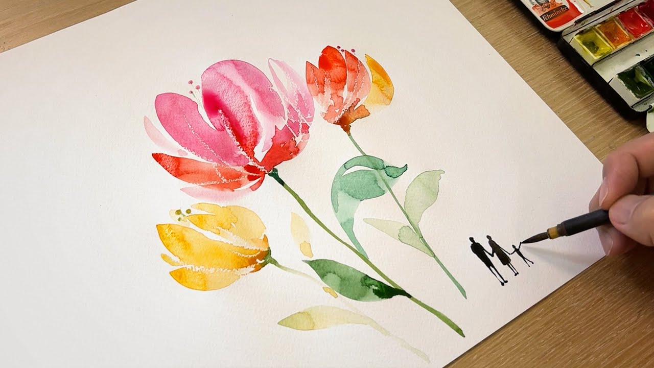 Simple Watercolor Painting Technique / Drawing people and butterfly