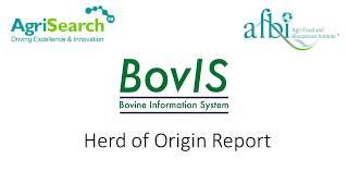 BovIS Herd of Origin Benchmarking Tool