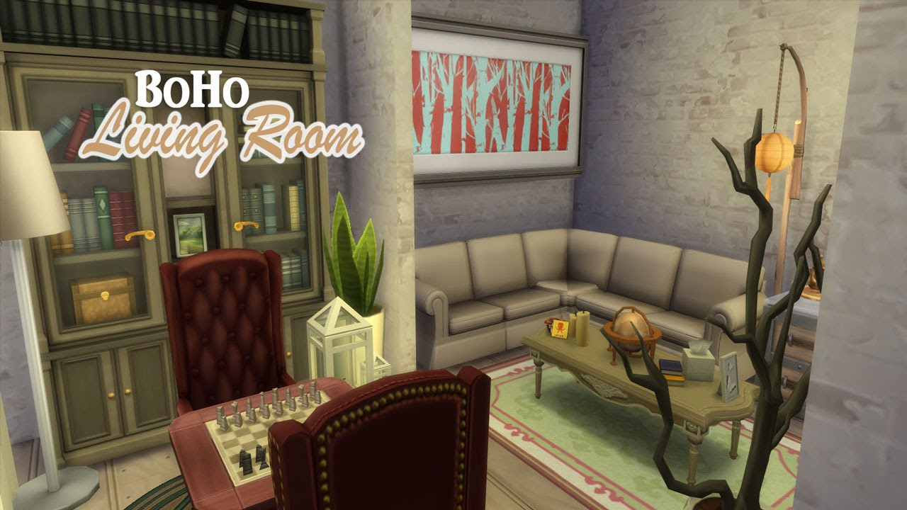 the sims 4 room build | boho living room - youtube