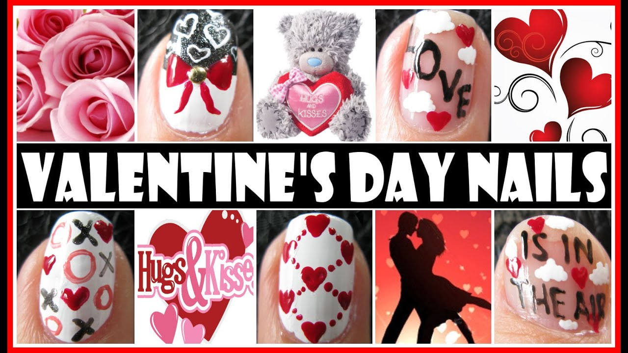 VALENTINE\'S DAY NAIL ART DESIGNS - LOVE IS IN THE AIR NAIL TUTORIAL ...