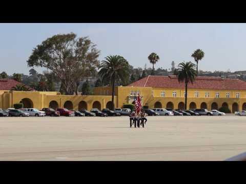 Marine Corps Recruit Depot San Diego Graduation Day, Video 4 Graduates entering parade deck9-2-16