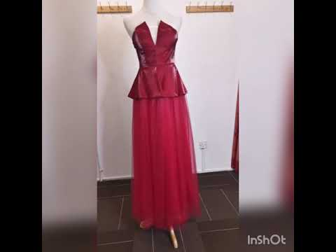 Strapless Red Peplum Gown