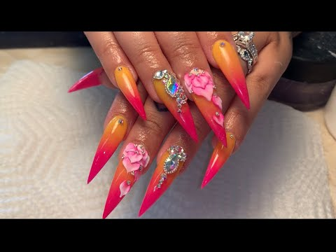Pink and yellow ombré with 3D nail flowers tutorial