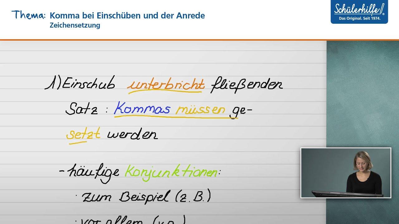 Komma bei Einschüben & bei der Anrede // Zeichensetzung // Deutsch ...
