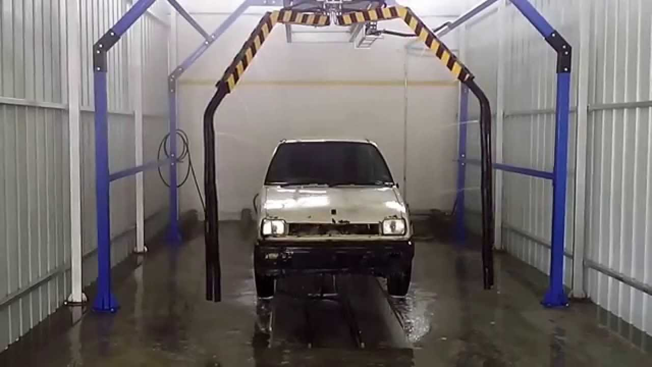 Motorcycle In Automatic Car Wash