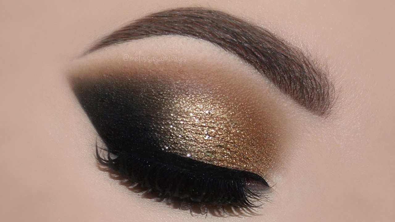 Gold Glam Cat Smokey Eyes Perfect Skin Makeup Tutorial
