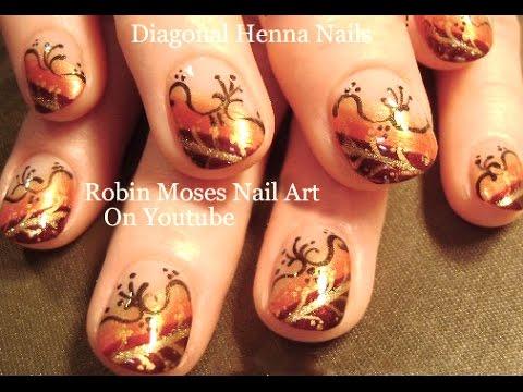diy henna nails fall nail art