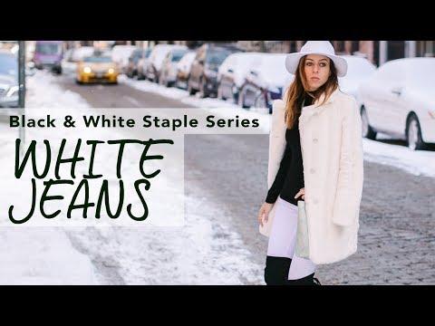 fb6c1d1e66a How to Wear WHITE JEANS in Winter I Black   White Staple Series. Sydne  Summer