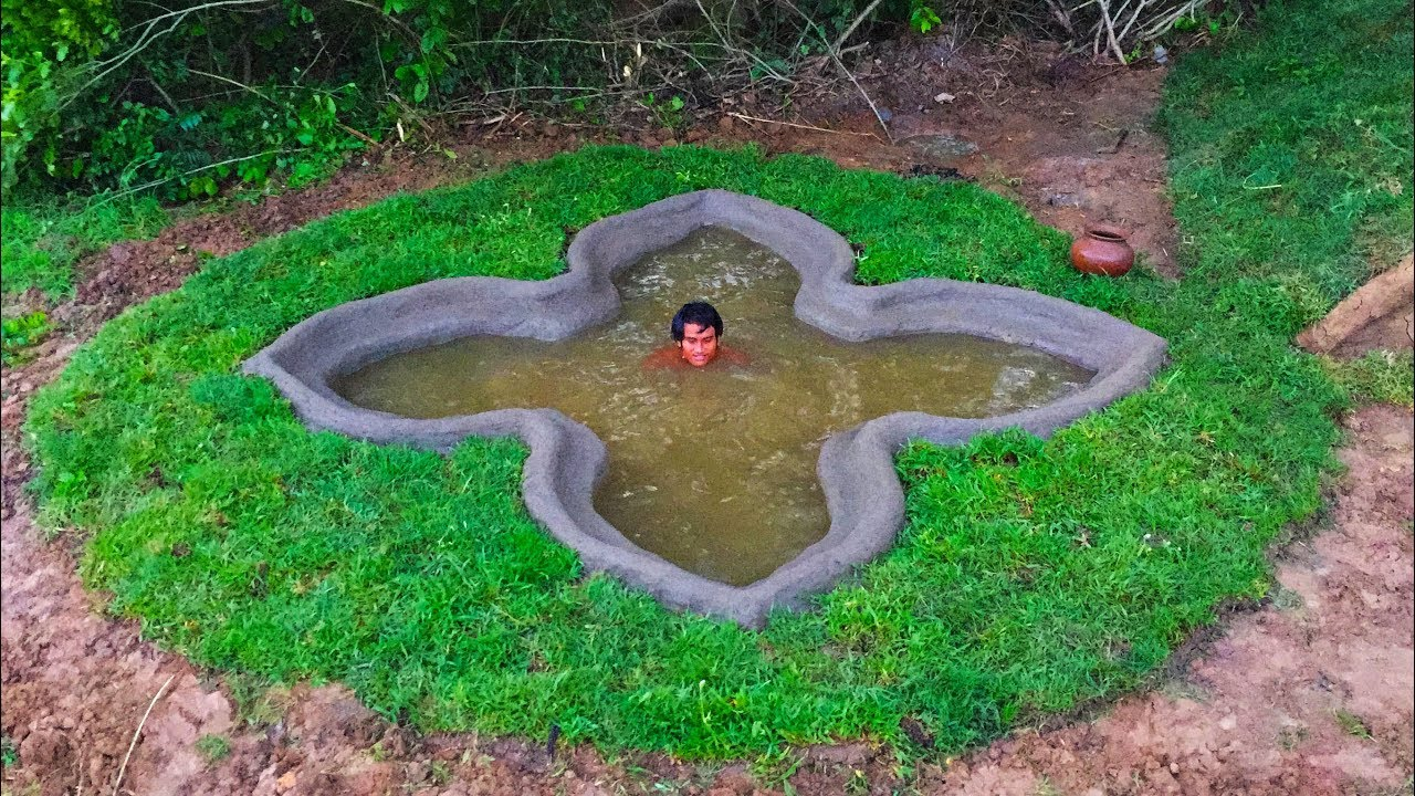 Secret Of Primitive: Building Mini Underground Flower Swimming Pool