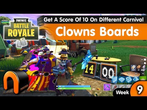 Fortnite Get A Score Of 10 Or More On Different Carnival Clowns Boards