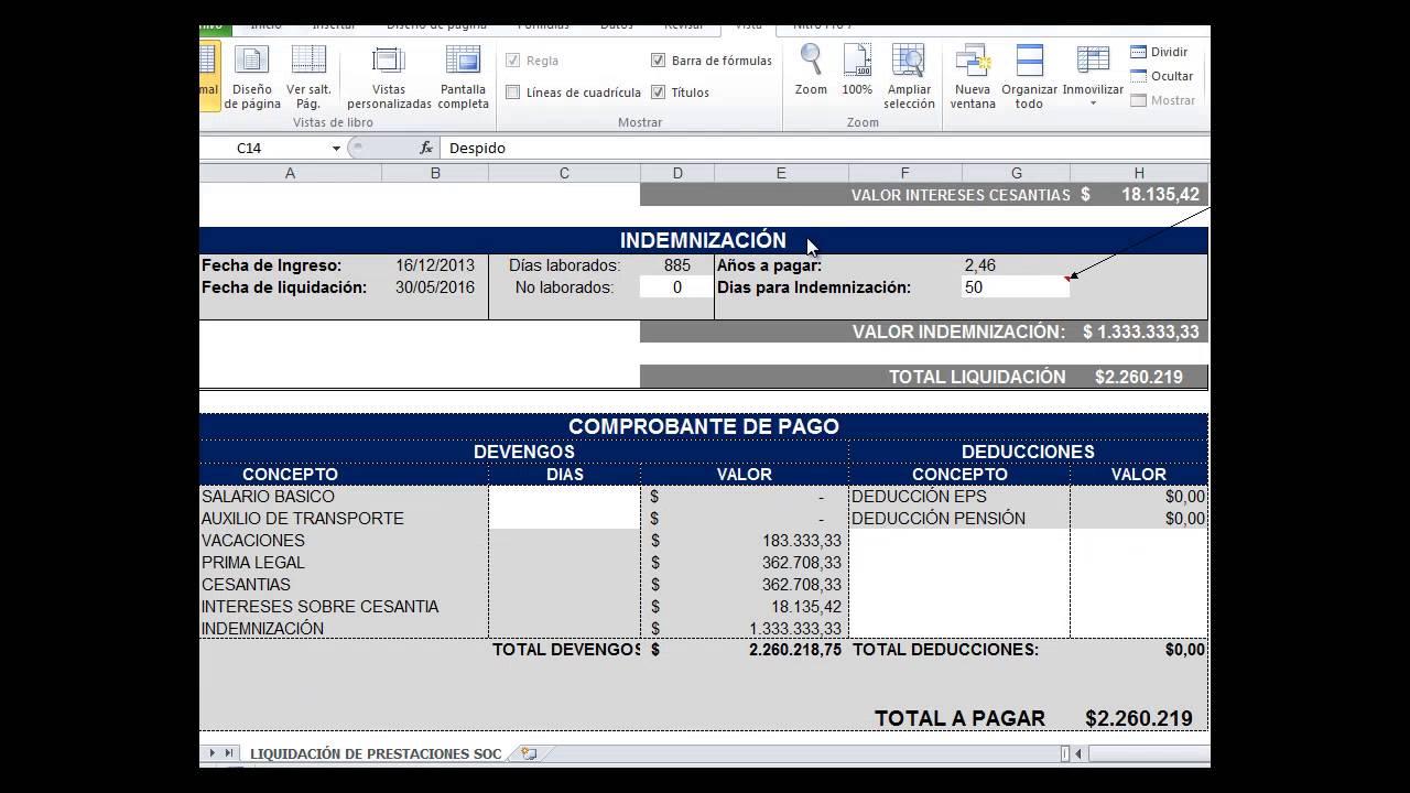 Como hacer una liquidaci n laboral en colombia 2017 for Liquidacion de nomina excel 2016