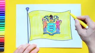 How to draw and color the Flag of New Jersey State, USA