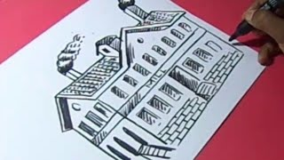 How to FACTORY MILL Drawing For Kids step by step
