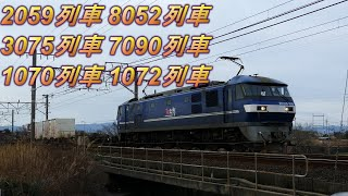 2020/01/18 昼時と午後の貨物列車6本 1072レに桃新塗装EF210-109号機