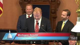Sen. MacGregor welcomes Pastor Meyer to deliver invocation at Michigan Senate
