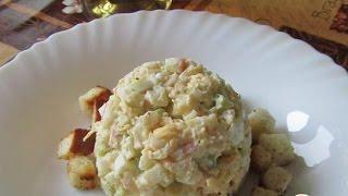 Салат из крабовых палочек с авокадо и сухариками  Пошаговый рецепт