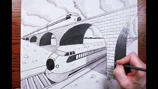 How to Draw Criss-Crossing Trains in Two Point Perspective