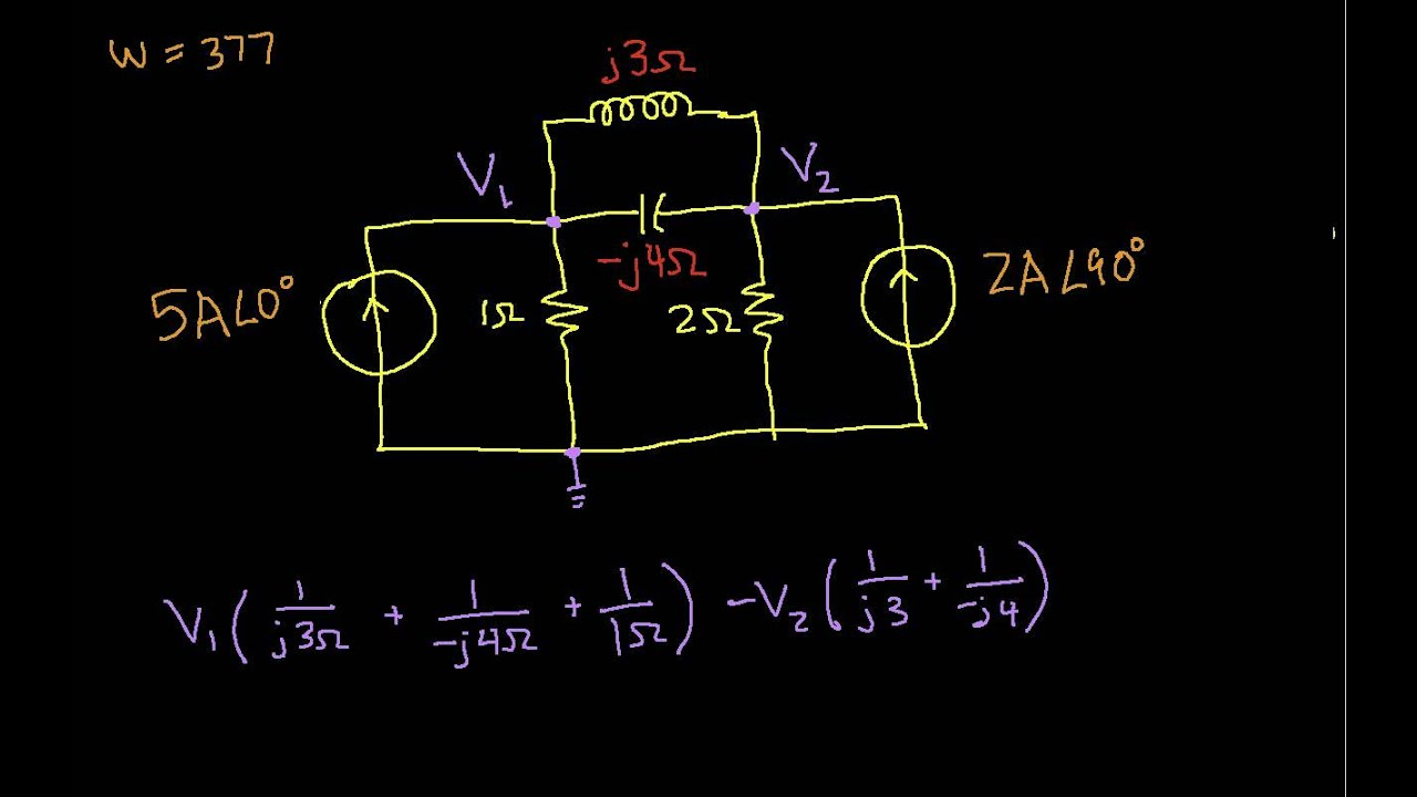 Ac Example Nodal Analysis Youtube Circuits
