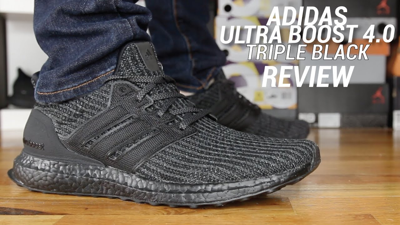 buy popular 1fb32 01d29 ADIDAS ULTRA BOOST 4.0 TRIPLE BLACK REVIEW