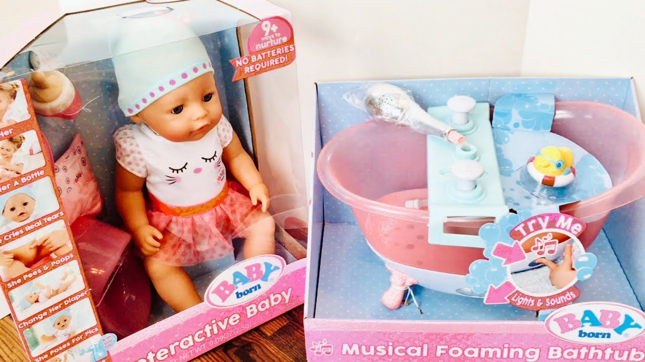 Stroller Baby Born Baby Born Doll And With Musical Foaming Bath Youtube