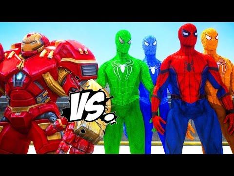 HULKBUSTER VS SPIDERMAN, GREEN SPIDERMAN, BLUE SPIDERMAN, ORANGE SPIDERMAN - IRON MAN VS SPIDERMAN